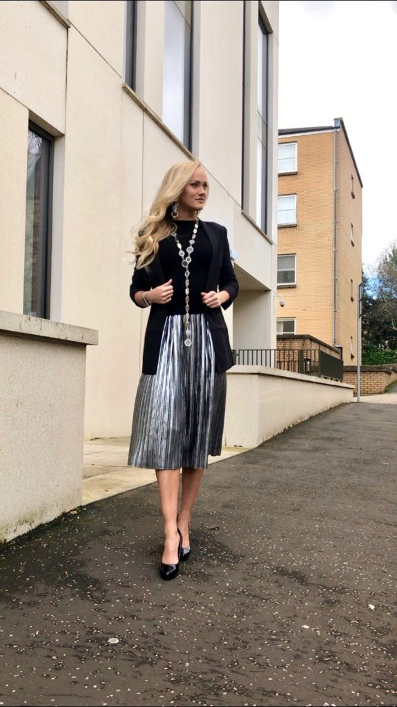 metallic silver pleated skirt with black blazer