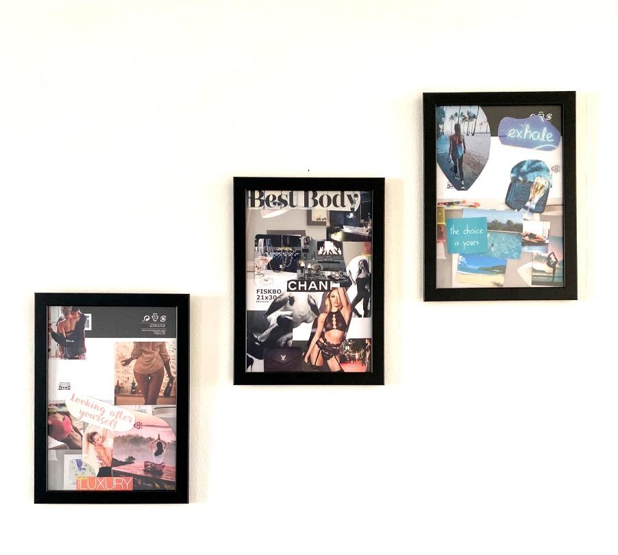 vision board in frames