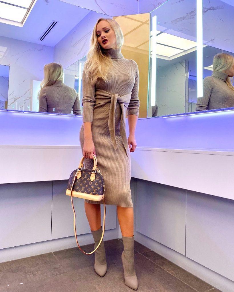 knit dress with Louis Vuitton alma bb bag
