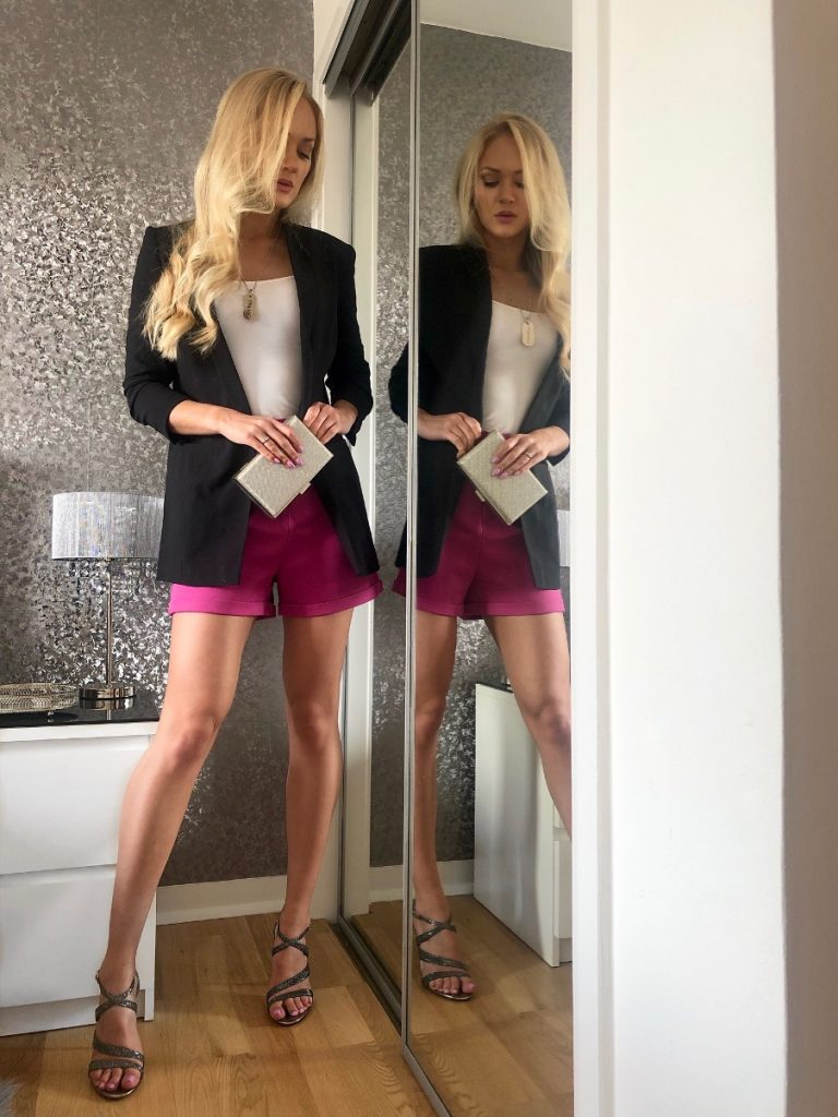 pink tailored shorts with blazer outfit