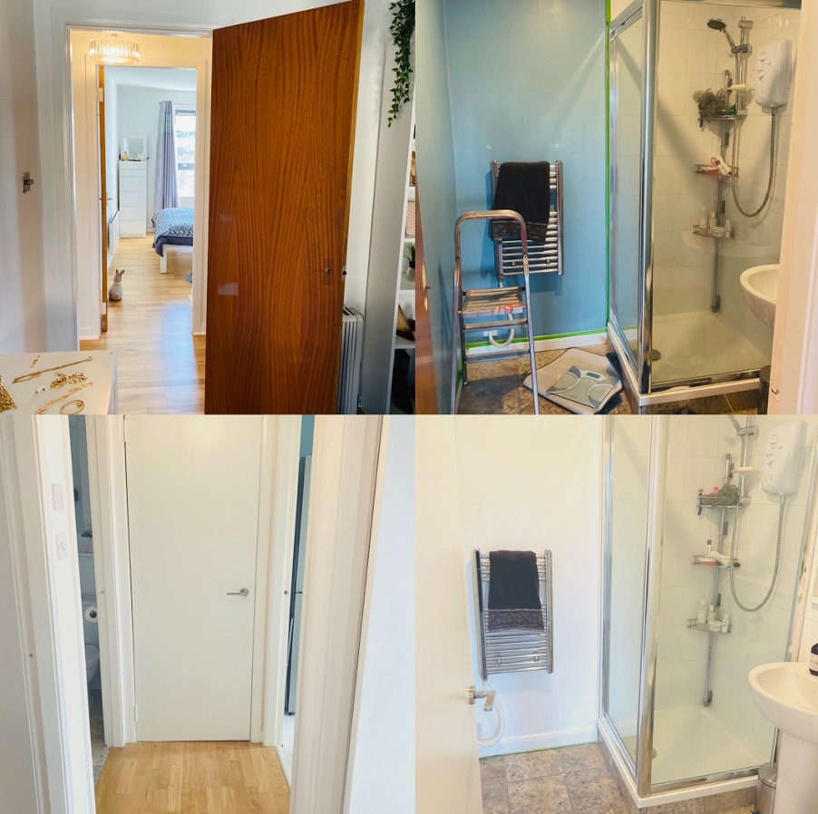 A collage of doors in a flat before and after