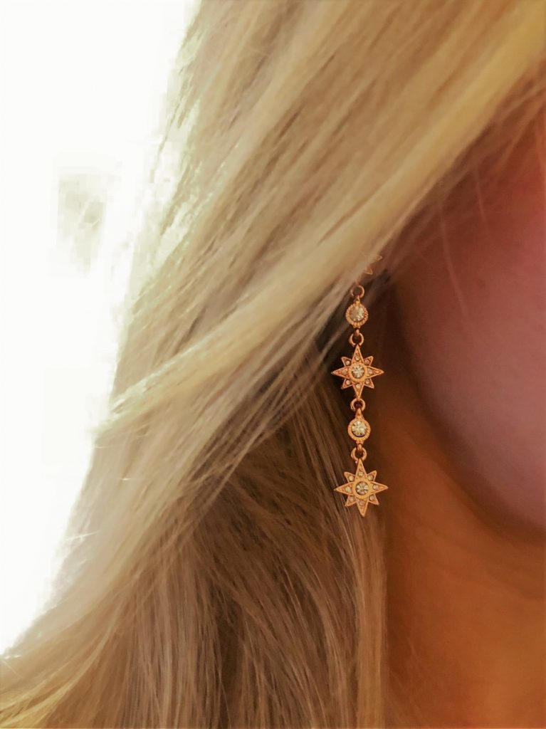 rose gold drop star earring