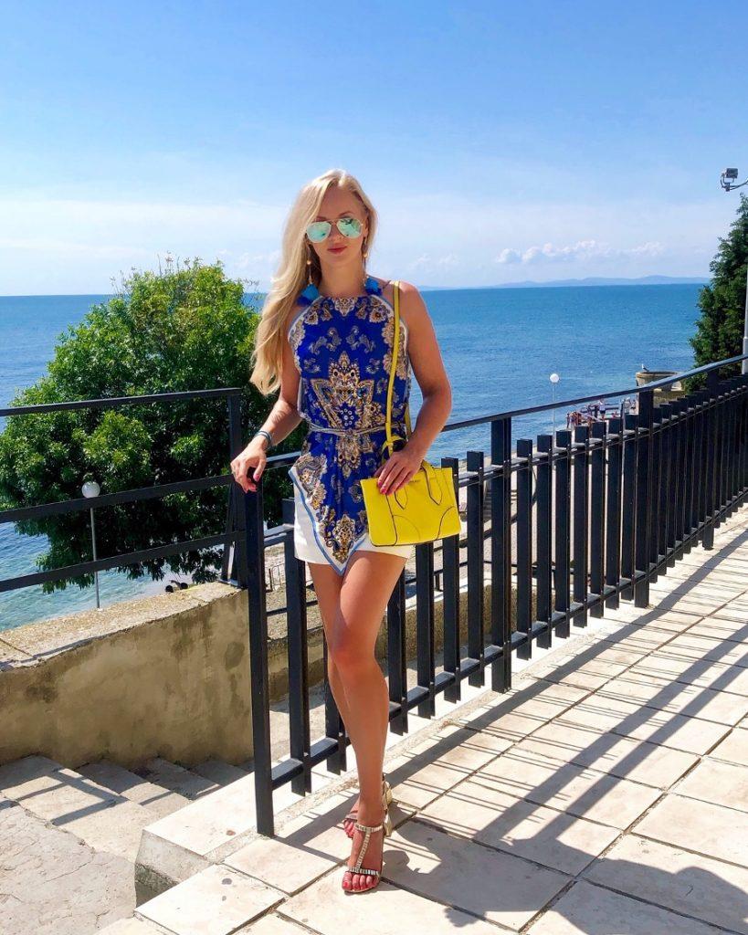 blue Zara top on vacation