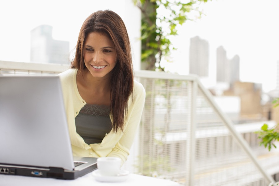 woman on video call at home on her patio