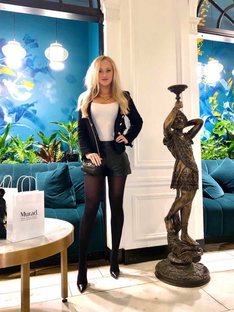 Zara tweed blazer winter fashion look