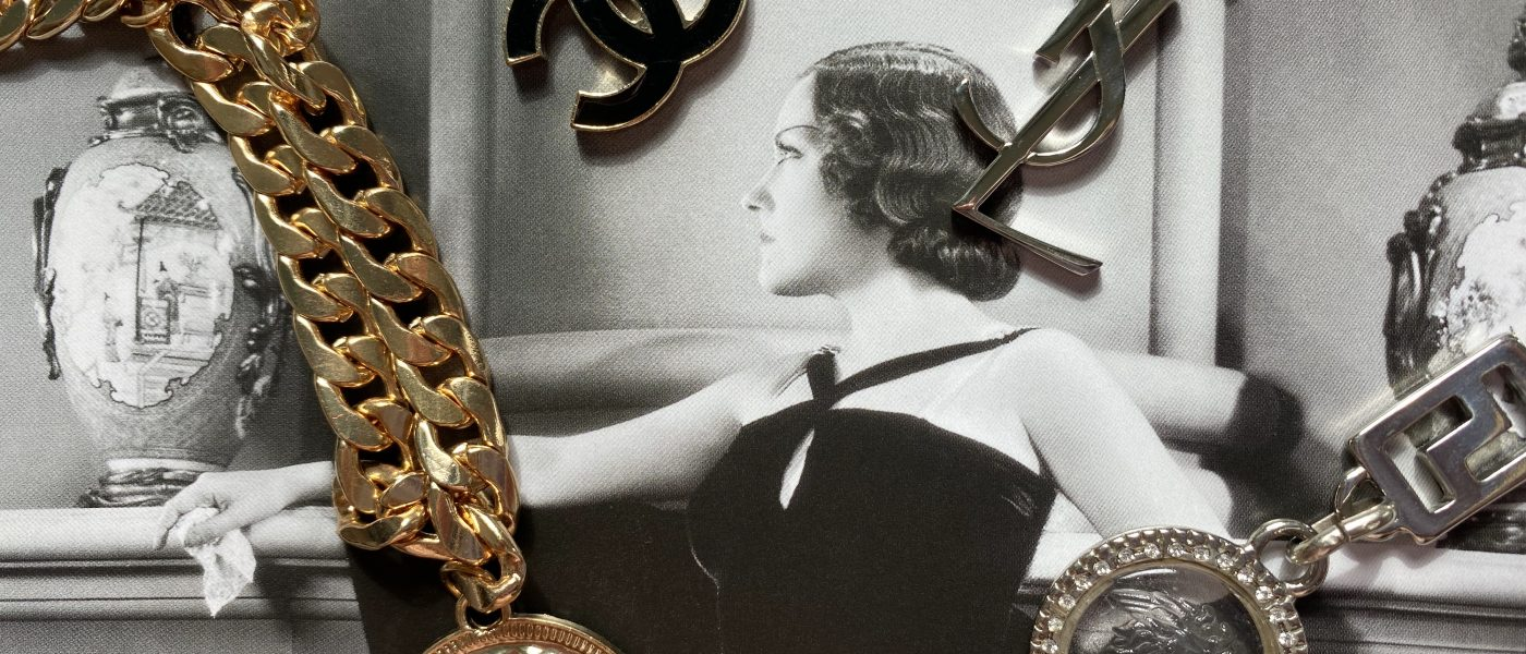 Chain belts on vintage image of a woman in a ball gown
