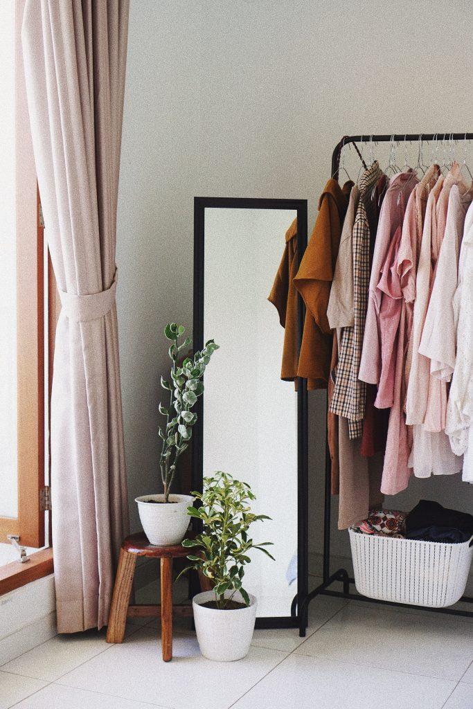 Simple clothing rail with curated fashion choices