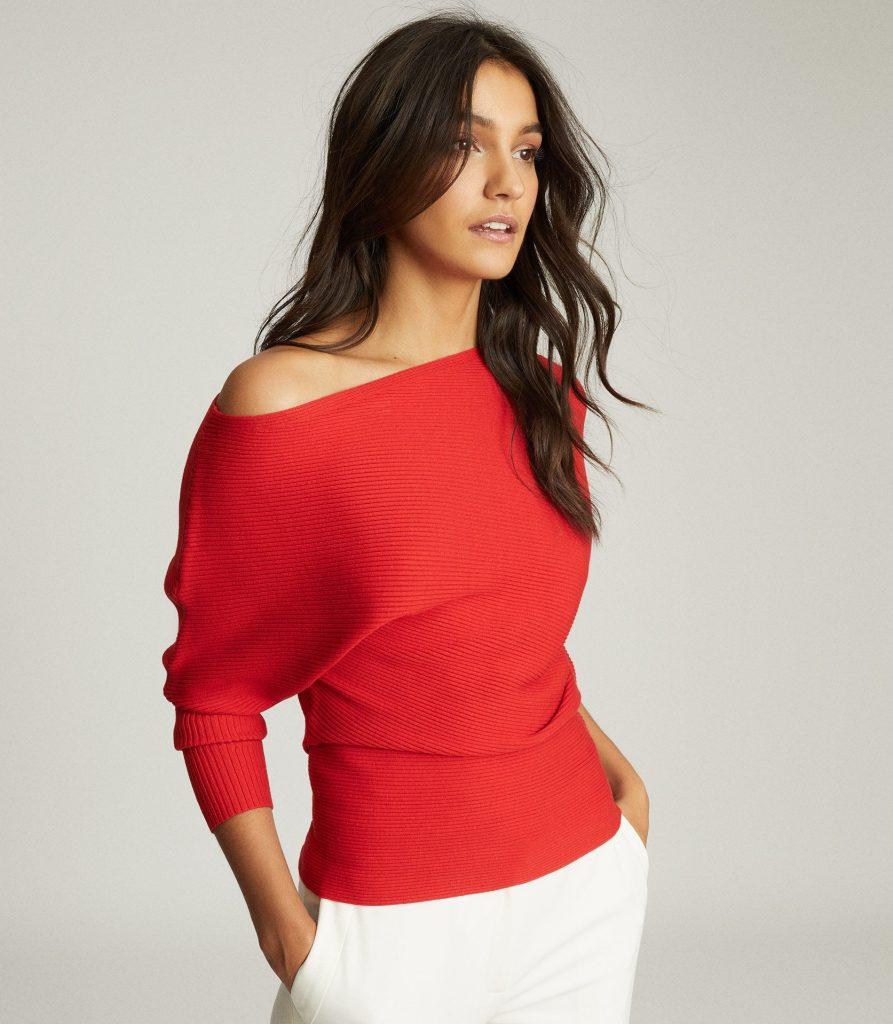 Red off-shoulder jumper