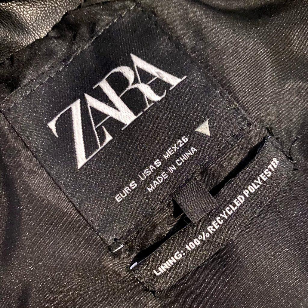 Zara garment label stating recycled polyester